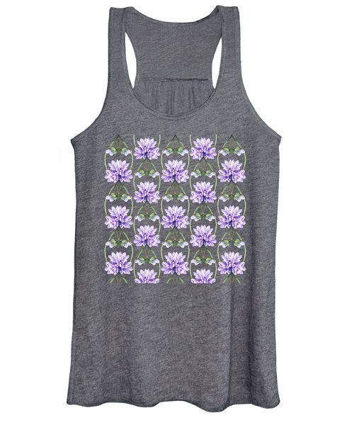 Purple Flowers Hearts Pattern Women's Tank Top