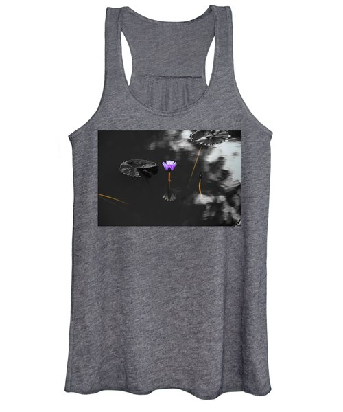 Purple Lily In Black And White Women's Tank Top