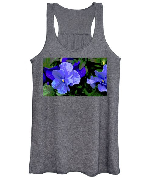 Purple Pansy Posterized Women's Tank Top