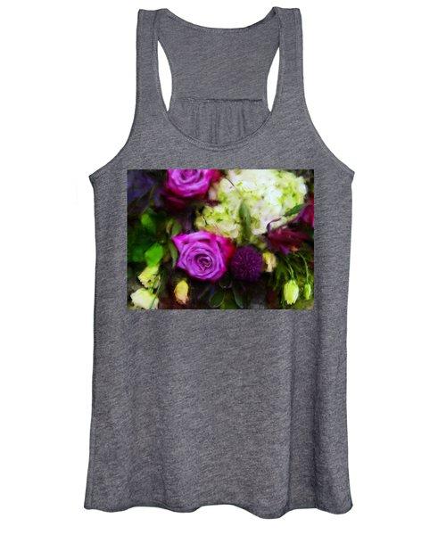 Purple Roses With Hydrangea Women's Tank Top