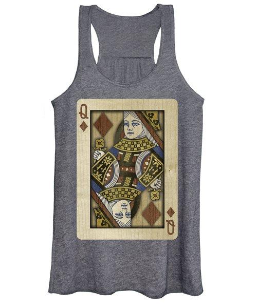Queen Of Diamonds In Wood Women's Tank Top