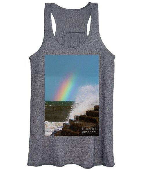 Rainbow Over The Crashing Waves Women's Tank Top