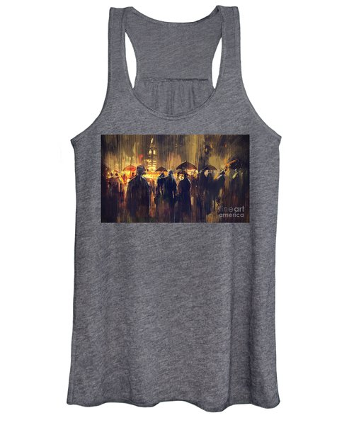 Women's Tank Top featuring the painting Raining by Tithi Luadthong