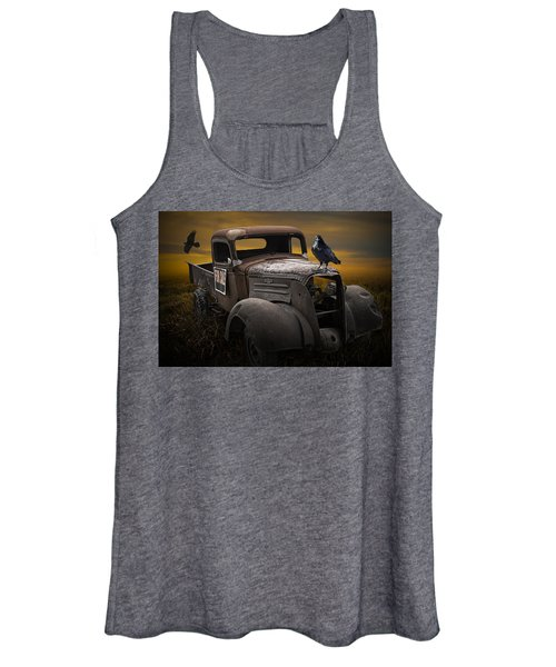 Raven Hood Ornament On Old Vintage Chevy Pickup Truck Women's Tank Top