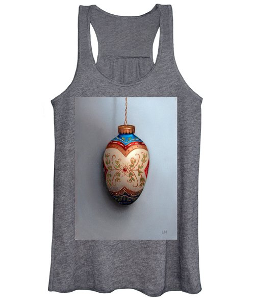 Red And Blue Filigree Egg Ornament Women's Tank Top