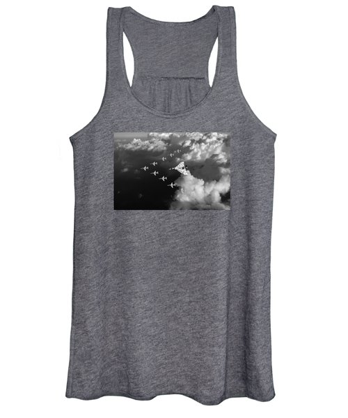 Red Arrows And Vulcan Above Clouds Black And White Women's Tank Top