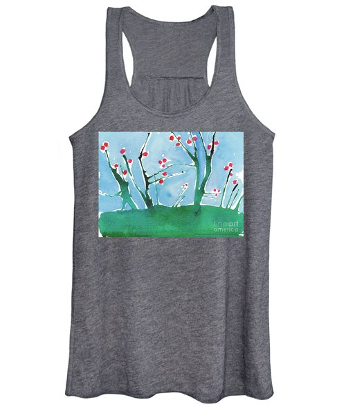 Red Berry Flowers Women's Tank Top
