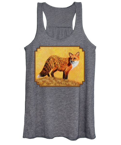 Red Fox Painting - Looking Back Women's Tank Top