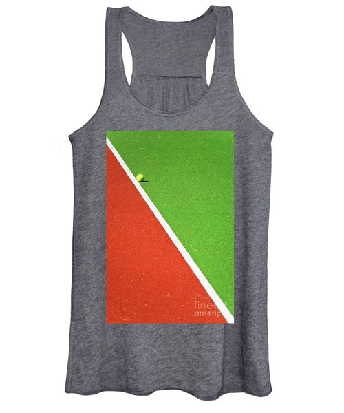 Red Green White Line And Tennis Ball Women's Tank Top