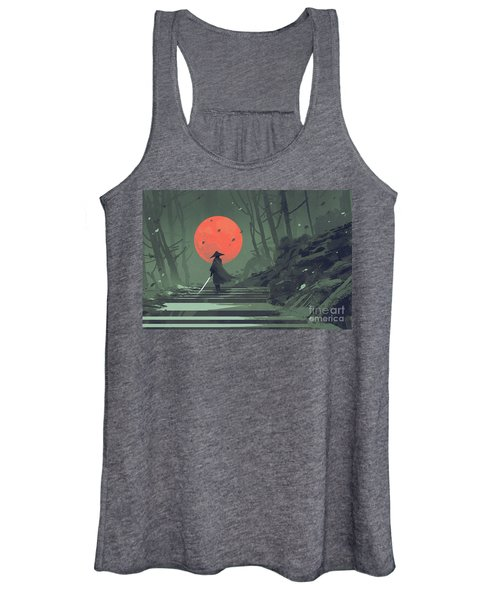 Women's Tank Top featuring the painting Red Moon Night by Tithi Luadthong