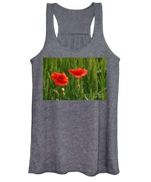 Red Poppy Flowers In Grassland 2 Women's Tank Top