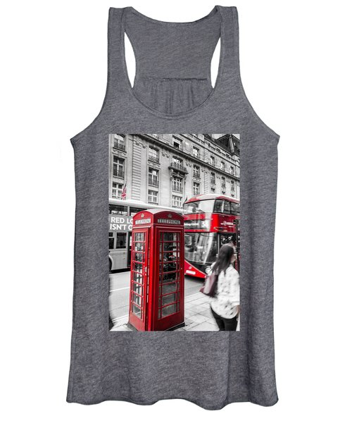 Red Telephone Box With Red Bus In London Women's Tank Top