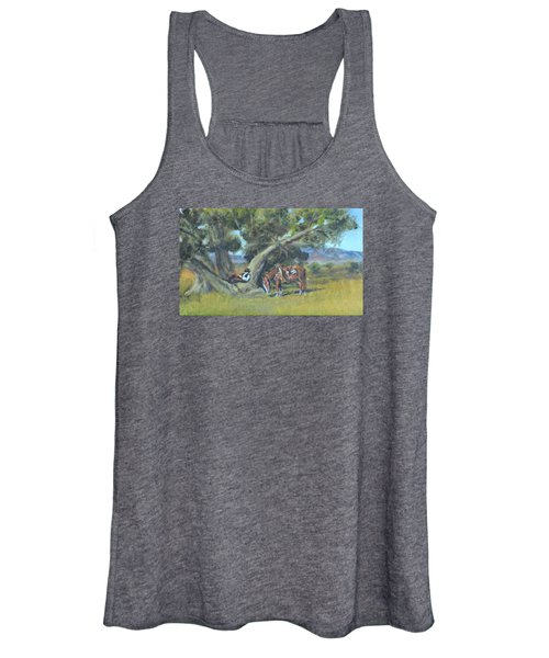 Resting Cowboy Painting A Study Women's Tank Top