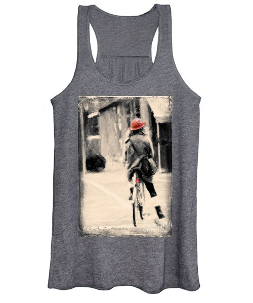 Riding My Bicycle In A Red Hat Women's Tank Top
