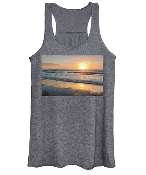 Rising Sun Reflecting On Wet Sand With Calm Ocean Waves In The B Women's Tank Top