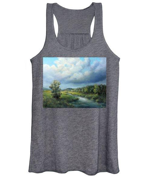 River Landscape Spring After The Rain Women's Tank Top