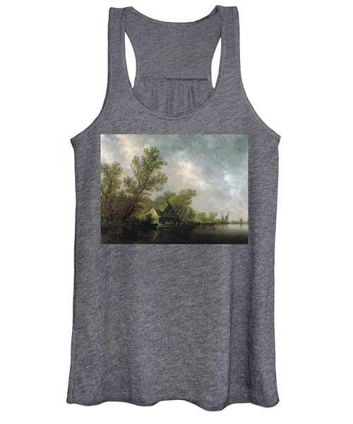River Landscape With Ferry Boat And Cottages Women's Tank Top