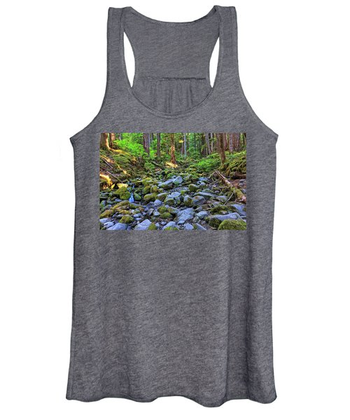 Riverbed Full Of Mossy Stones With Small Cascade Women's Tank Top