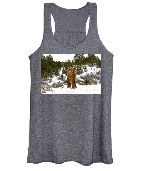 Roaring Grizzly In Winter Women's Tank Top