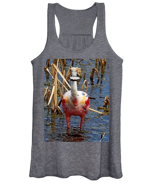 Roseate Spoonbill And Water Drops Women's Tank Top