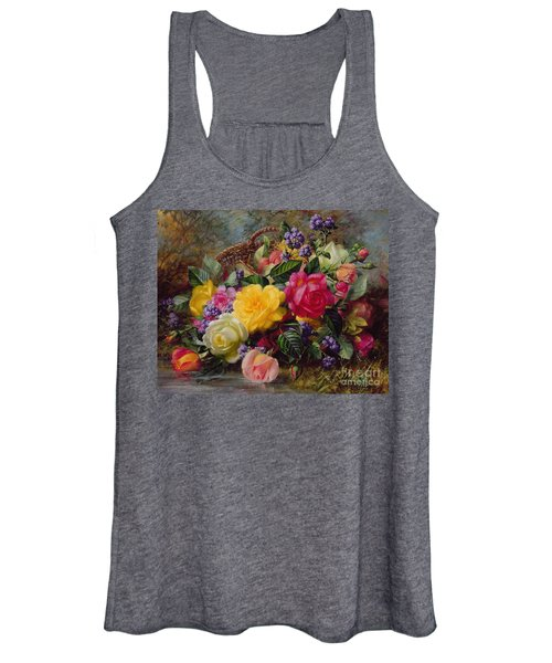 Roses By A Pond On A Grassy Bank  Women's Tank Top