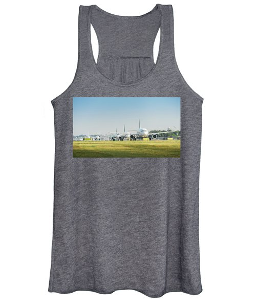 Row Of Airplanes Ready To Take-off Women's Tank Top