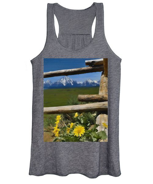 Rustic Wildflowers And Tetons Women's Tank Top