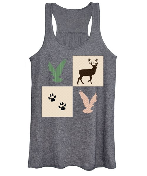 Women's Tank Top featuring the mixed media Rustic Wildlife Pattern by Christina Rollo