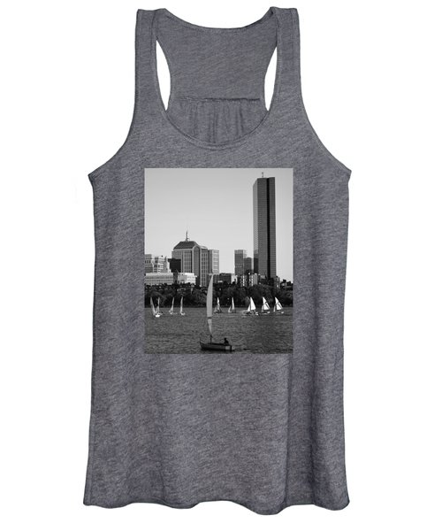 Sailing The Charles River Boston Ma Black And White Women's Tank Top