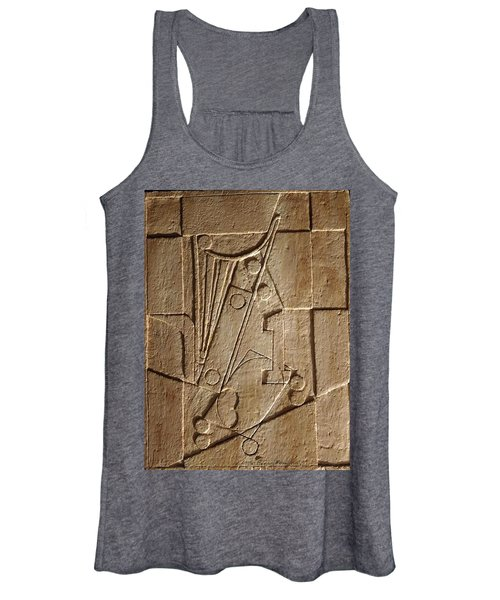 Sculptured Panel - Influenced By Picasso's Painting Having The Number 1 Women's Tank Top