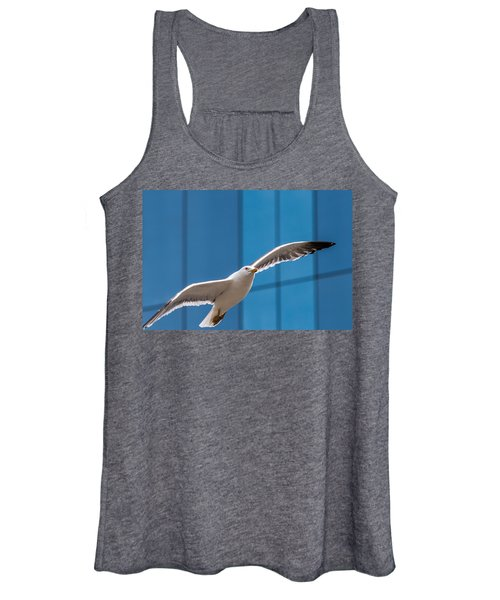 Seabird Flying On The Glass Building Background Women's Tank Top