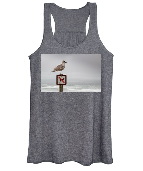 Seagull Standing On Sign And Looking At The Ocean Women's Tank Top
