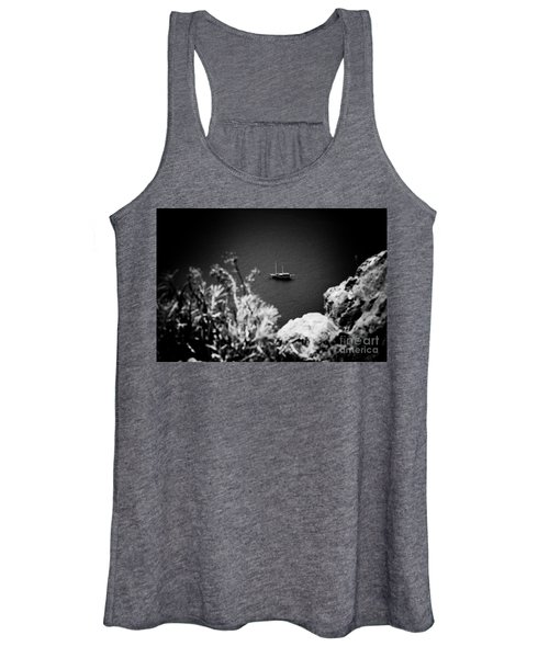 Seascape With Boat Artmif.lv Balck And White Women's Tank Top