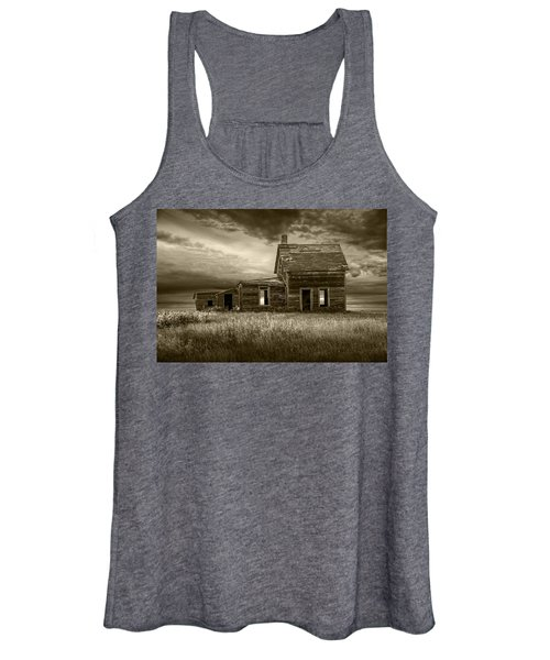 Sepia Tone Of Abandoned Prairie Farm House Women's Tank Top