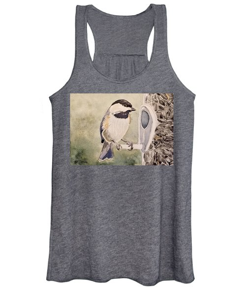 Shades Of Black Capped Chickadee Women's Tank Top