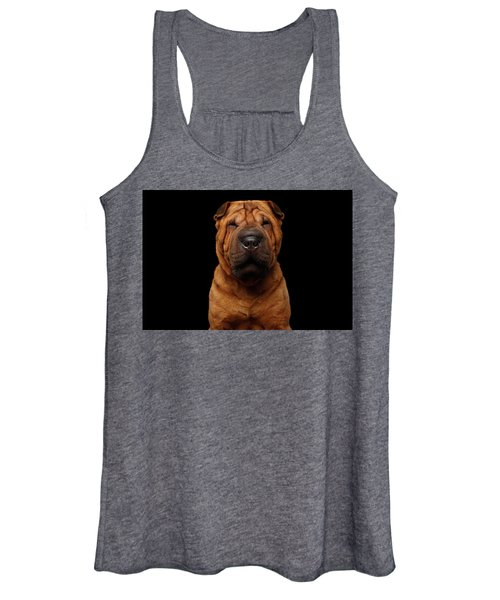 Sharpei Dog Isolated On Black Background Women's Tank Top