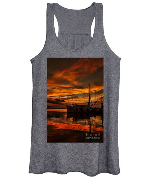 Shrimp Boat Sunset Women's Tank Top