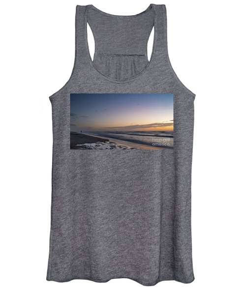 Single Man Walking On Beach With Sunset In The Background Women's Tank Top