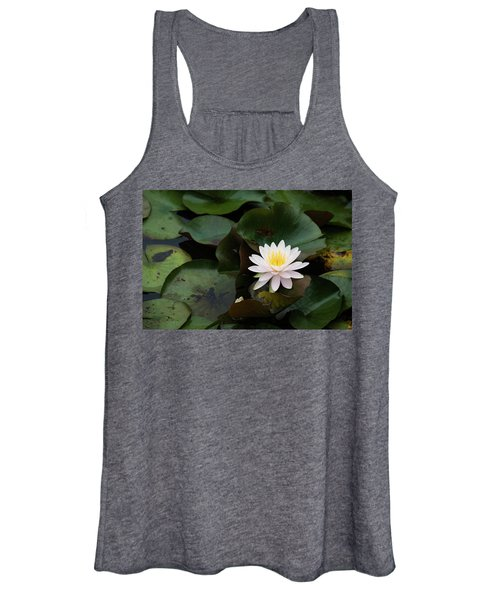 Single White Pristine Lotus Lily Women's Tank Top