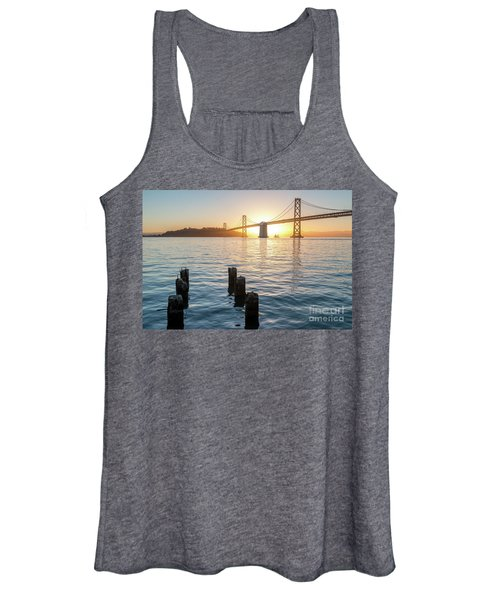 Six Pillars Sticking Out The Water With Bay Bridge In The Backgr Women's Tank Top