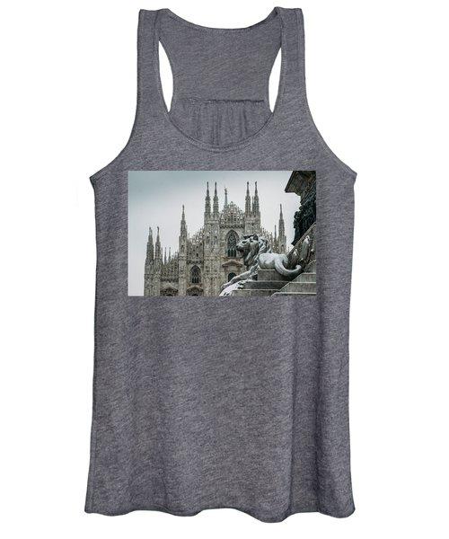 Snow At Milan's Duomo Cathedral  Women's Tank Top