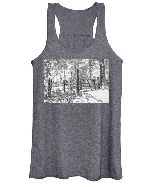 Snowy Cattle Gate Women's Tank Top