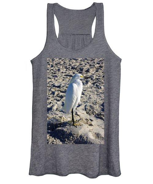 Snowy Egret At Naples, Fl Beach Women's Tank Top