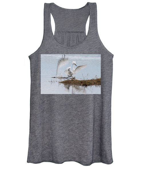 Snowy Egret Chasing His Dinner Women's Tank Top