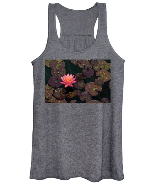 Speckled Red Lily And Pads Women's Tank Top