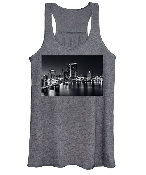 St Johns River Skyline By Night, Jacksonville, Florida In Black And White Women's Tank Top