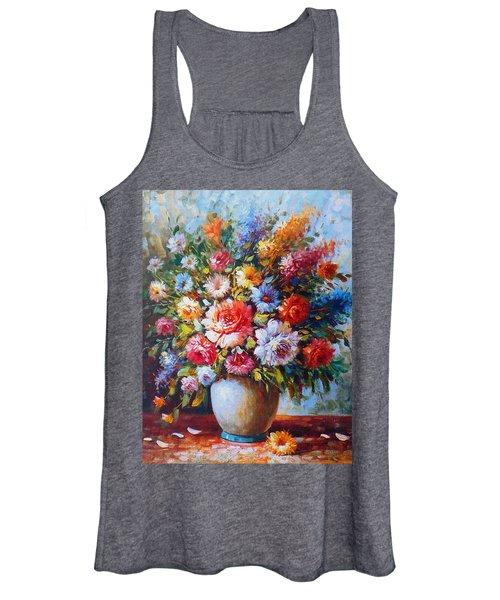 Still Life Colourful Flowers In Bloom Women's Tank Top