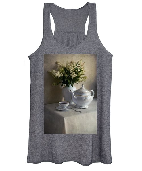 Still Life With White Tea Set And Bouquet Of White Flowers Women's Tank Top