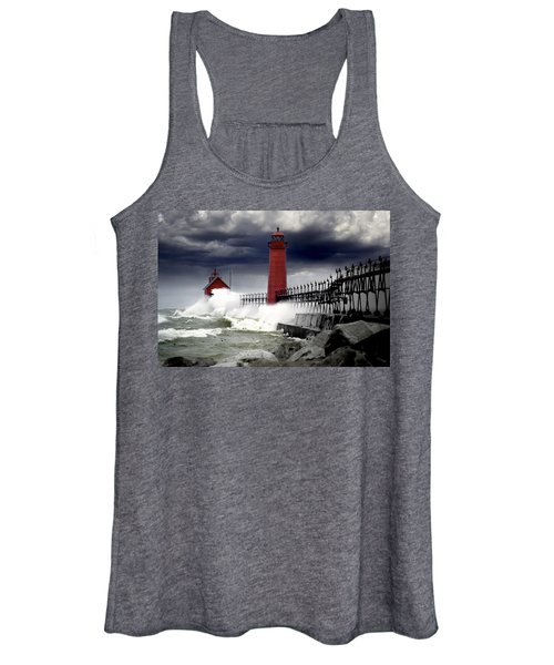 Storm At The Grand Haven Lighthouse Women's Tank Top