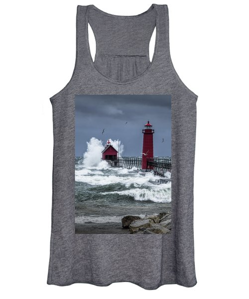 Storm On Lake Michigan By The Grand Haven Lighthouse With Flying Gulls Women's Tank Top